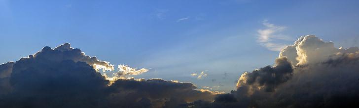 taivas, pilvet, tummat pilvet, sininen, muodossa, katettu sky, ilta taivaalle