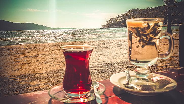 paplūdimys, gėrimas, detalus vaizdas, puodelis, gėrimas, stiklo, vandenyno