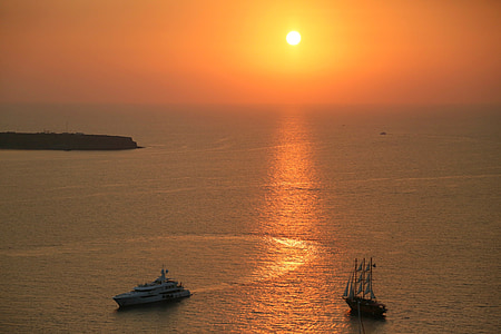 산 토 리 니, 일몰, 휴일, abendstimmung, 바다, 저녁 빛, 그리스