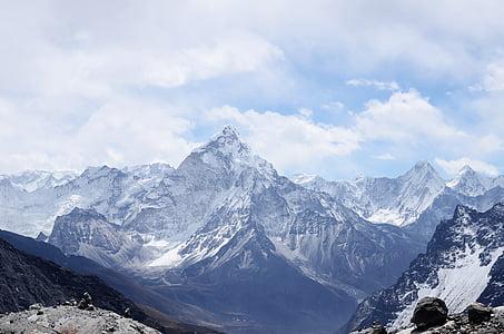 moln, landskap, bergskedja, bergen, naturen, Sky, snö