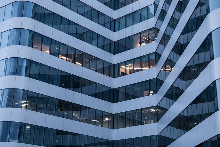 biroju ēka, uzņēmējdarbības, debesis, pārdomas, arhitektūra, biroja centrs, pilsēta