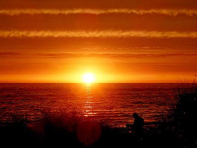 posta de sol, nit, sol, Mar, platja, cel de posta de sol, silueta
