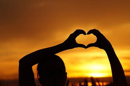 bakgrundsbelyst, Dawn, skymning, händer, hjärtat, Kärlek, siluett