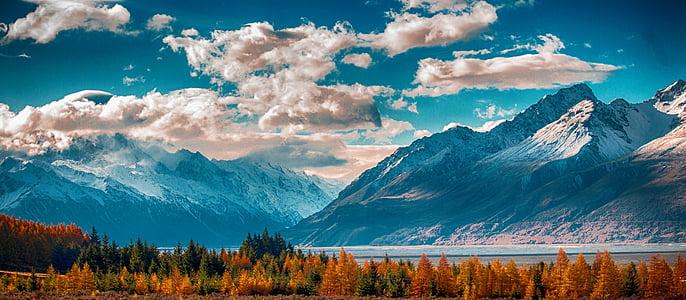 muntanya, cel, paisatge, natura, l'estiu, neu, l'hivern