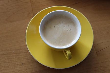 pohár, káva, žltá, šálka kávy, horúce, Kofeín, aróma