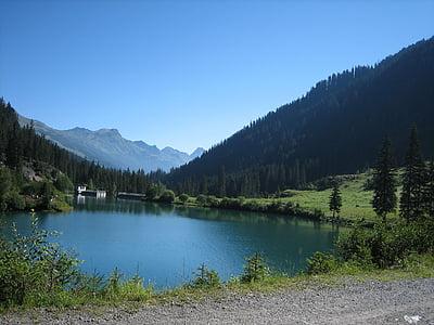 jezero, alpské, Hora, Horská krajina, Příroda