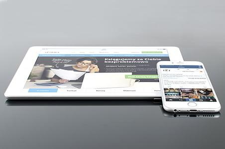 яблуко, пристрої, IOS, iPad, iPhone, мобільний телефон, макет