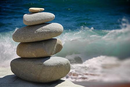 pierres zen, Zen, pierres, structure, mur, méditation, Bouddha