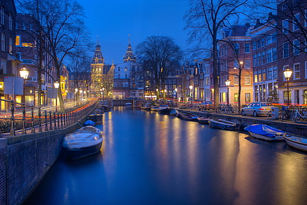 Amsterdam, noapte, canale, seara, tapet, iluminate, reflecţie