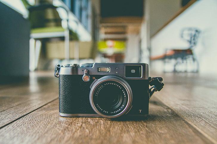 càmera, lent, accessori, fotografia, Oficina, entelar, fusta