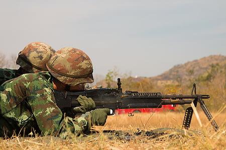háború, lő, hadsereg, lövés, pisztoly, katonák, géppuska