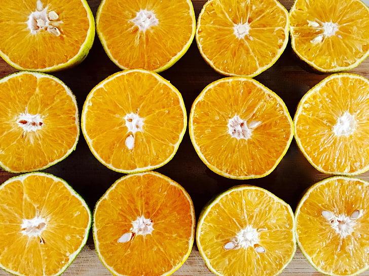 taronges, taronja, groc, tallar, llesca, meitat, fruita
