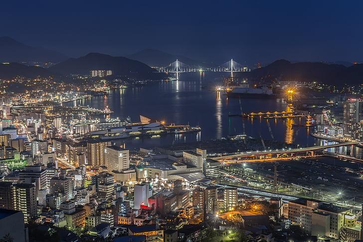 noćni pogled, Nagasaki, Japan, tri velika noć pogled, Pogledaj prijatelje člana svijeta tri velike noći, linija horizonta, noć