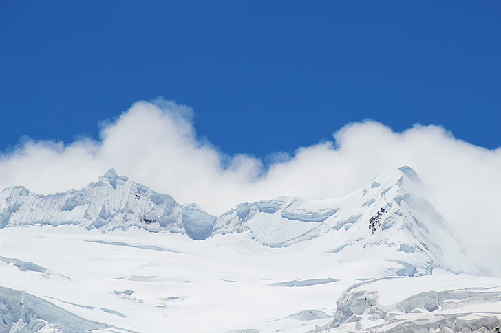 céu azul, nuvem branca, montanha de neve, montanha, neve, Inverno, temperatura fria