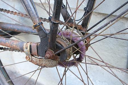 bicikl, bicikala koncentrator, stari bicikl, bicikl je govorio, žbice, stražnji kotač