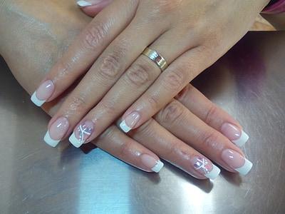 les ungles, gel de, manicura, mà humana, ungla, dones, close-up