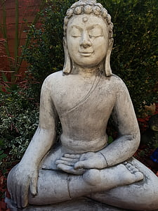 Buddah, jardí, decoració, escultura, harmonia, figura, gartendeko