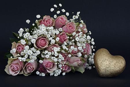 roses, rose flower, flowers, pink, white, heart, gold