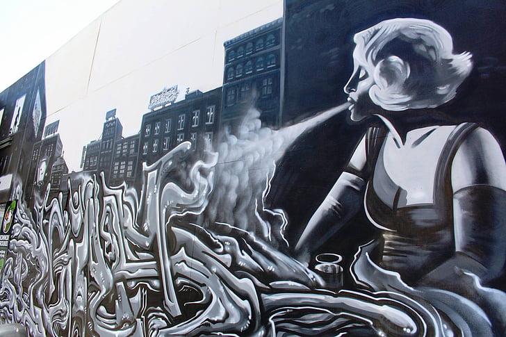 graffiti művészet, Street art, spray, város, fal, városi, művészi