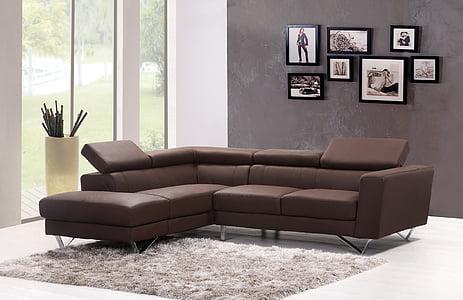 sofà, sofà, casa, interior, catifa, moderna, sala