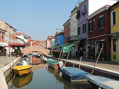 ช่อง, บ้านที่มีสีสัน, เรือ, สะท้อน, กิโลเมตร, burano, หลายสี