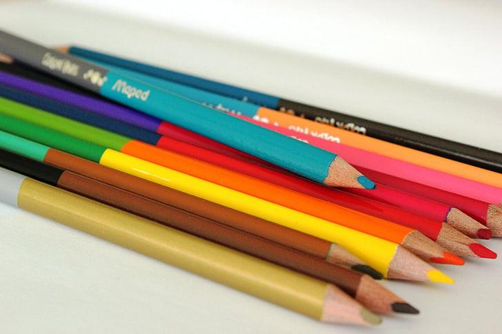 creioane colorate, pastel, turcoaz, de colorat, Scoala, culori, copil