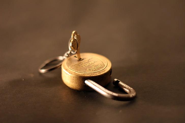 cadenas, déverrouillé, serrure, moi?, Or, fermer, sécurité