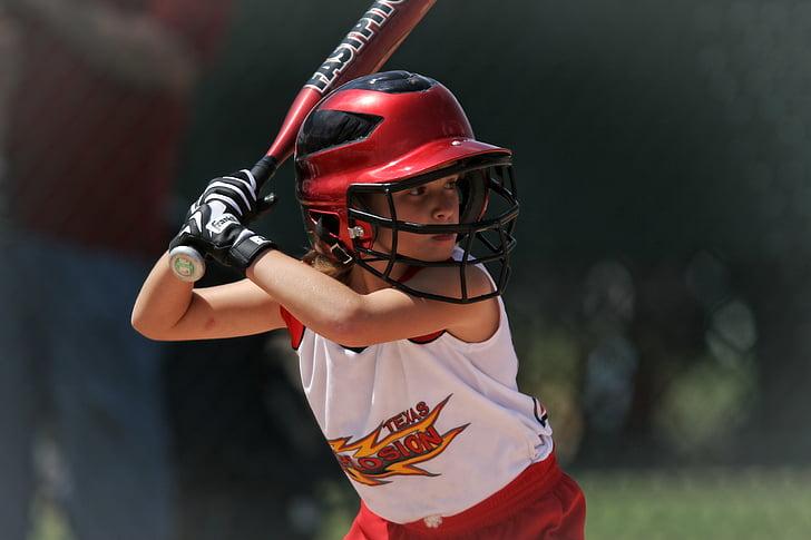 action, athlete, baseball, game, girl, helmet, outdoors