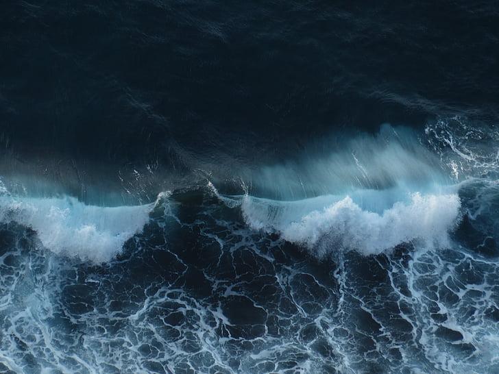 κύμα, θραυστήρα, στη θάλασσα, surf, φούσκωμα, αφρώδες υλικό, σπρέι