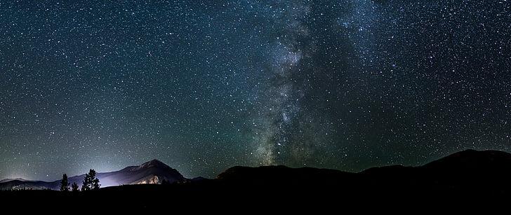 galáxia, montanhas, noite, galáxias, céu, à noite, estrelas