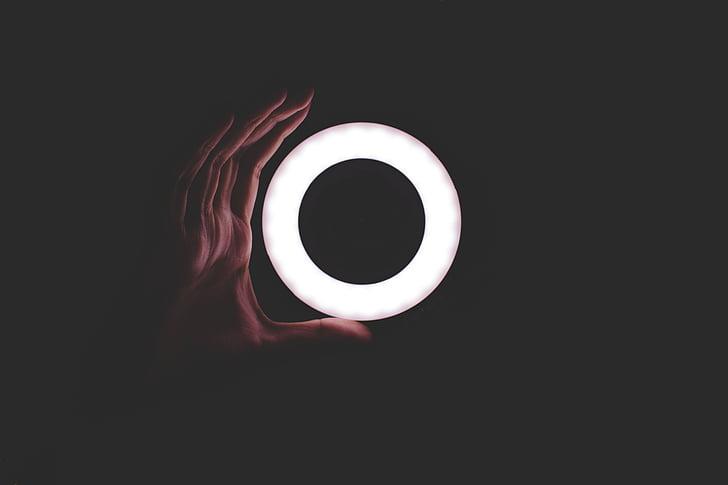 fosc, nit, cercle, ronda, llum, mà, Palma