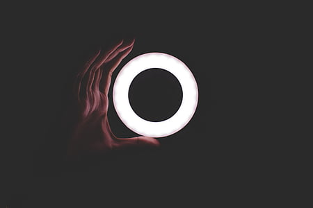 dark, night, circle, round, light, hand, palm