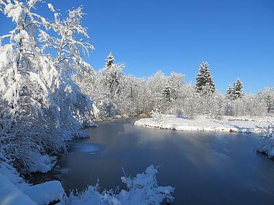 talvi, Ice, Lake, Moor, taivas, pankki, vesi