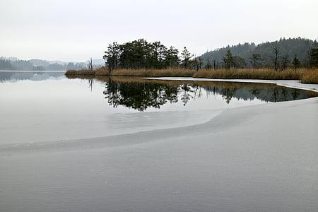 Luonto, Lake, vesillä, talvi, Ice, jäädytetty, eingeeist