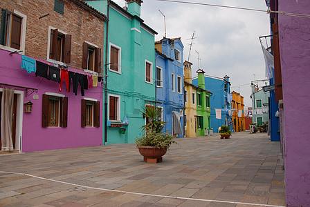 เวนิส, burano, ลากูน่า, บ้าน, สี, ท้องฟ้า, ฮอลิเดย์