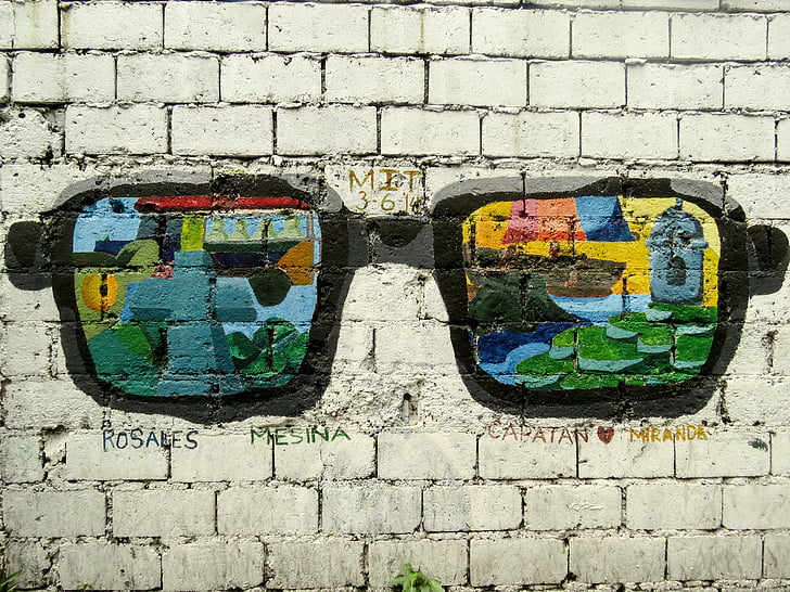 Manila, filippínó, graffiti, kültéri, fal, utca, spray