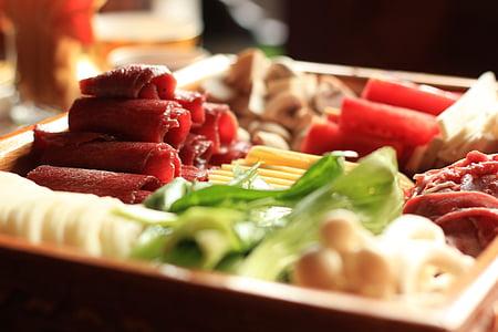 chafing plat, carn de boví, aliments, ingredients, vegetals, frescor