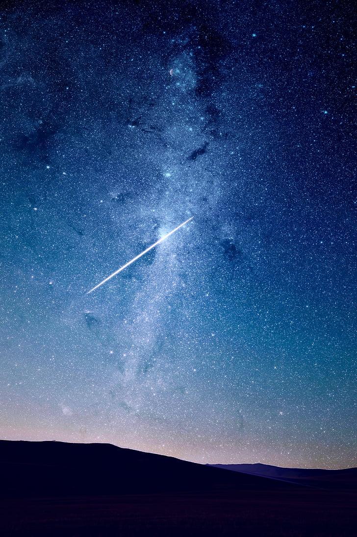 faldende, Star, silhuet, Mountain, nat, stjerner, stjerneskud