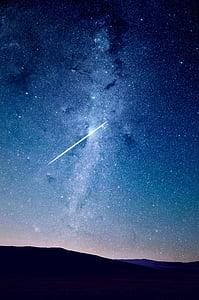 alla, Star, siluett, mägi, öö, tähed, shooting star