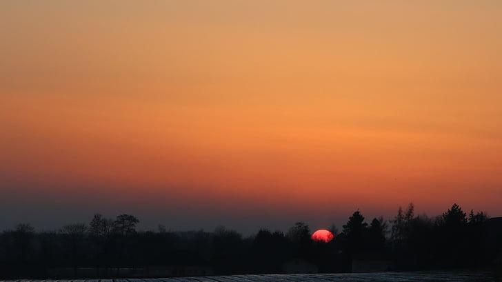 saulriets, oranža, vasaras, sarkana, vakara debesis, apelsīnu debesis, debesis