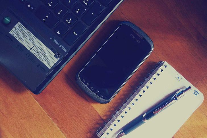 laptop, počítač, smartphone, mobilné, Technológia, zariadenia, Poznámkový blok