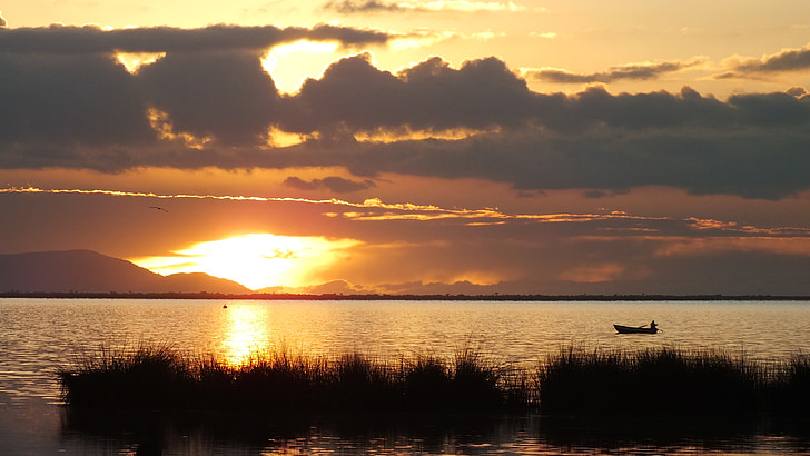 titicaca, lake, dawn, boat, fisherman, fish, sky