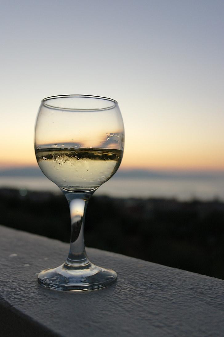 vino, tramonto, vetro