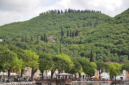 Garda, sétány, Olaszország, Port, Hill, utazás, Bank