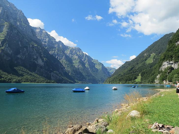 Fjällsjö, sjön klöntal, sjön, resan punkt