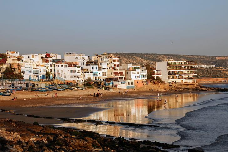 Maroko, Taghazout, Beach, západ slnka, vody, pobrežie
