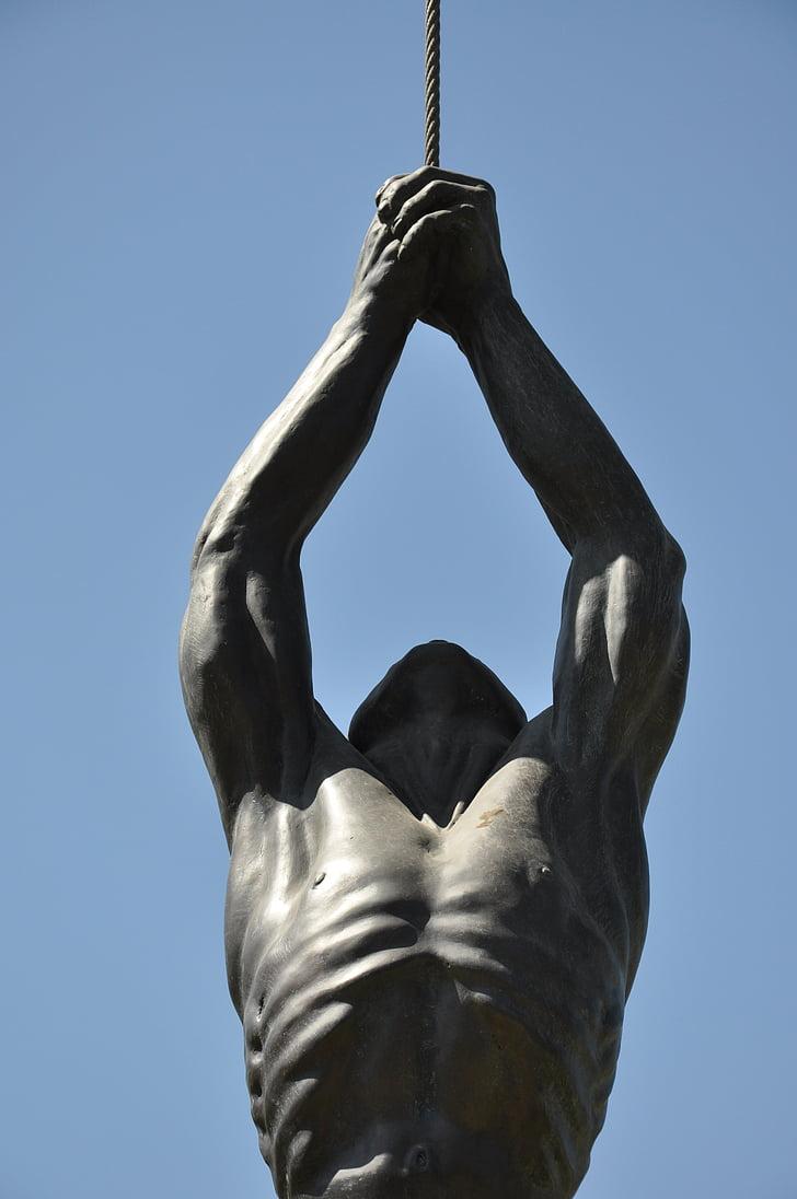 Santiago, Xile, Parc d'escultures, estàtua, home, corda, Museu