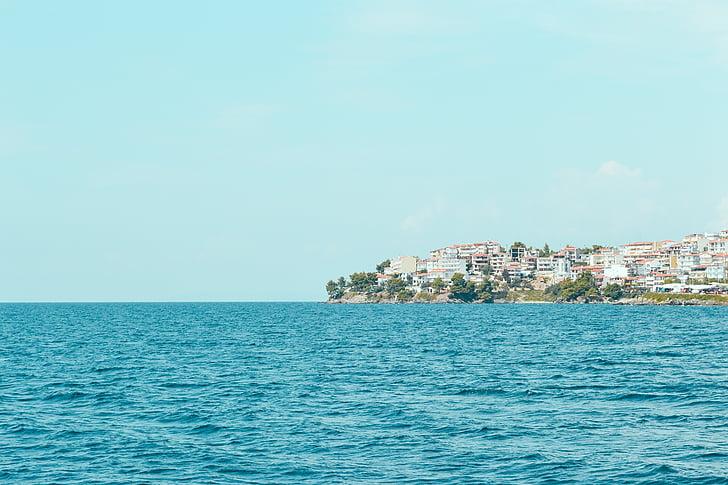 pemandangan laut, rumah, laut, laut, pemandangan, langit, Pantai