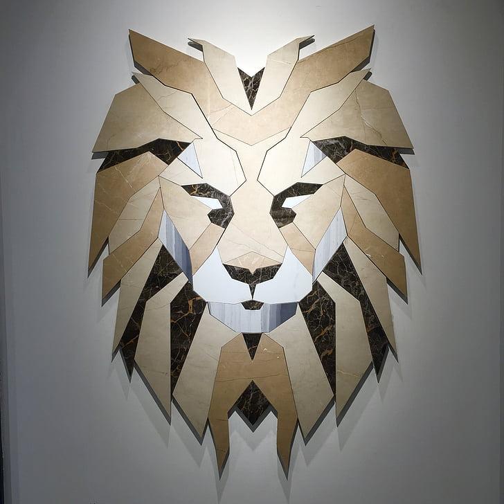 Leeuw, ontwerp, creatieve, muur, kunst, mozaïek, decoratie