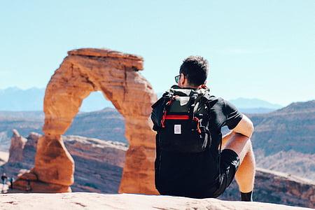 šedá, černá, batoh, lidé, muž, sám, cestování